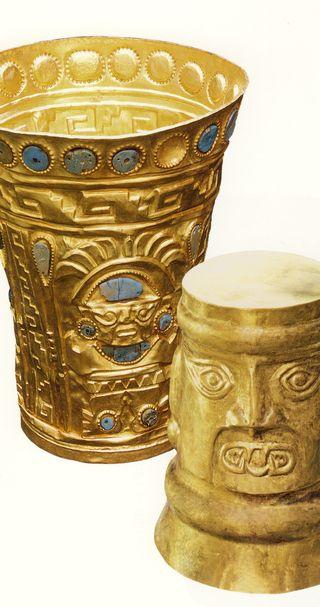 Or,chrysocole. Gobelets conservés à Lima -Fondation. Gallo