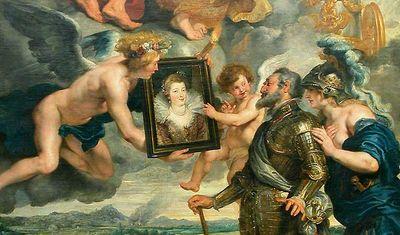 Henri IV reçoit le portrait de la reine et se laisse désarmer par l'amour - Rubens - Galerie Médicis - Louvre